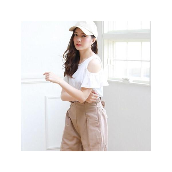 肩開きフリルTシャツ/トップス|sandr0817