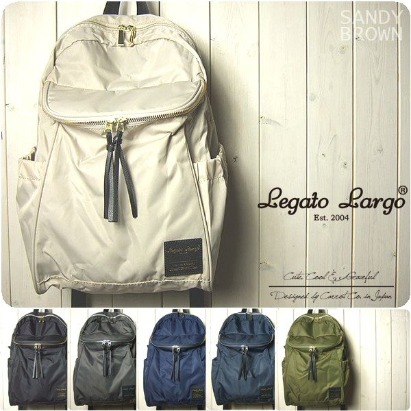 Legato Largo リュック レディース 撥水高密度ナイロン ラウンドポケット付きリュック レガートラルゴ|sandybrown