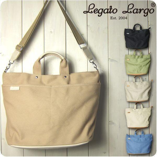 Legato Largo レガートラルゴ ショルダーバッグ レディース 撥水加工キャンバス 10ポケット 2WAYトートバッグ|sandybrown