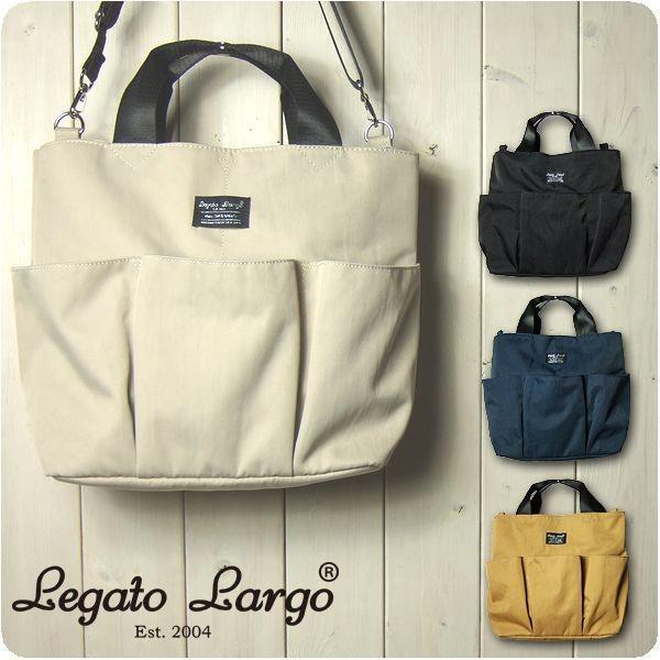 Legato Largo レガートラルゴ ショルダーバッグ レディース 撥水マットナイロンツイル 10ポケット 2WAY トートショルダー|sandybrown