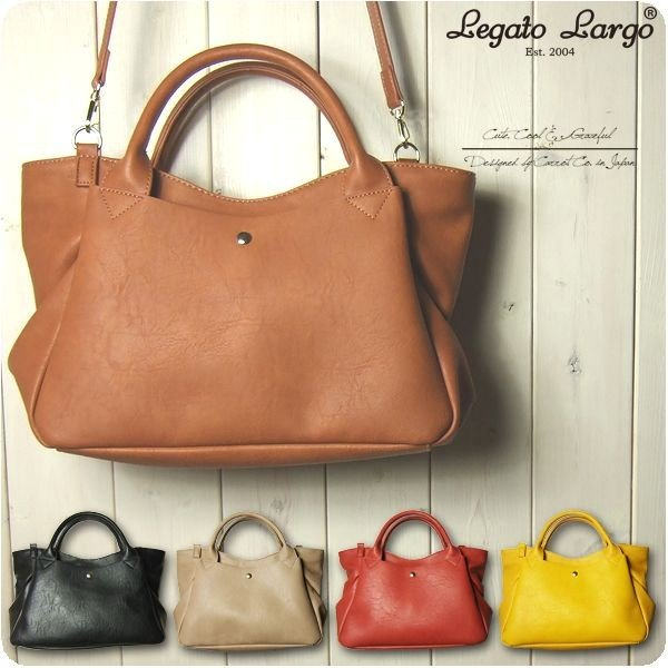 Legato Largo レガートラルゴ ショルダーバッグ レディース クラフトフェイクレザー 2WAY トートバッグ|sandybrown