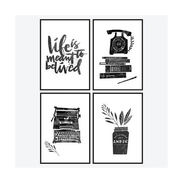 ポスター インテリア A3 モノトーン 白黒 おしゃれ アートポスター アートフレーム フォトポスター モダン モノクロ 選べる2枚 29.7x42cm フレームなし|sangsanghoo-jp|02