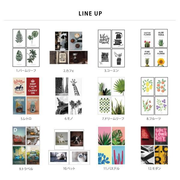ポスター アートポスター おしゃれ インテリアポスター フォトポスター A3 4枚セット北欧 モダン 植物 選べる12種類 29.7x42cm フレームなし|sangsanghoo-jp|02