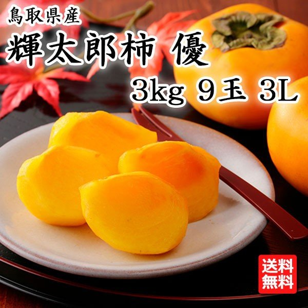 鳥取県産 輝太郎柿 優 3L 3kg 9玉 JA鳥取いなば