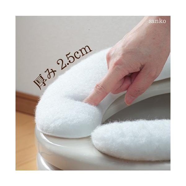 便座カバー 貼るタイプ 超ハイパイルベンザシート O型 U型 洗浄暖房型 洗える 洗濯 アンモニア消臭 おしゃれ 介護 日本製 おくだけ吸着 サンコー|sanko-online|04