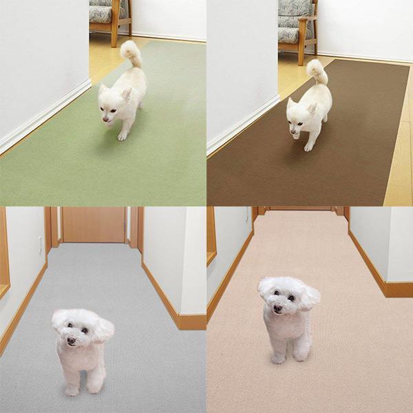 タイルマット 廊下敷きマット 90×200cm  フローリング 滑らない カーペット 廊下 撥水 洗える ペット 犬 おくだけ吸着 サンコー|sanko-online|02