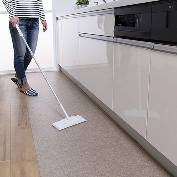 キッチンマット 拭ける 180 滑り止め 撥水 日本 おしゃれ 北欧 吸着拭けるキッチンマット 60×180cm おくだけ吸着 サンコー|sanko-online|02