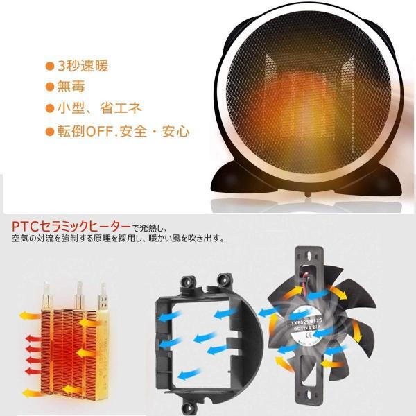 ファンヒーター 電気ファンヒーター MIBOTE 電気ストーブ 小型セラミックヒーター 首振り 2段階替式+送風モード 足元ヒーター 暖房器
