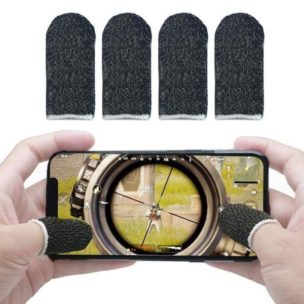 荒野行動 PUBG Mobile スマホゲーム 手汗対策 超薄 銀繊維 4個入り 指カバー 反応早い 指サック 操作性アップ 携帯ゲーム iPhone/Android/iPad スマホ対応 定番|sanosyoten