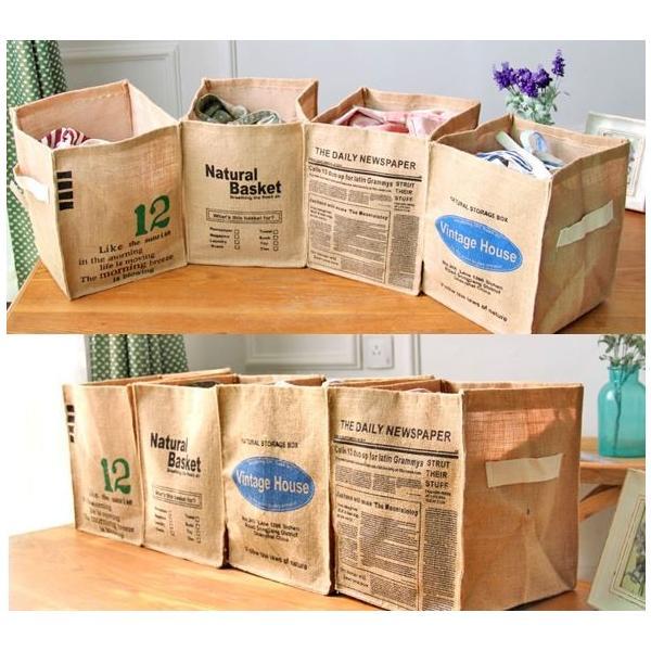 折りたたみ 収納箱 おしゃれな 天然 麻 ジュート 収納 BOX  整理 ケース 送料無料|sansanya