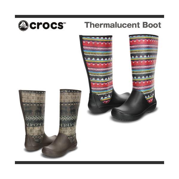【超目玉 残り僅か!】レディース クロックス サーマルーセント ブーツ Crocs Thermalucent Boot 長靴 レインブーツ
