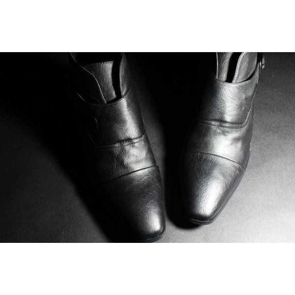 ショートブーツ PU革靴 メンズ シークレット シューズ モンクストラップ お兄 ホスト 2017 秋|sansuiya|03