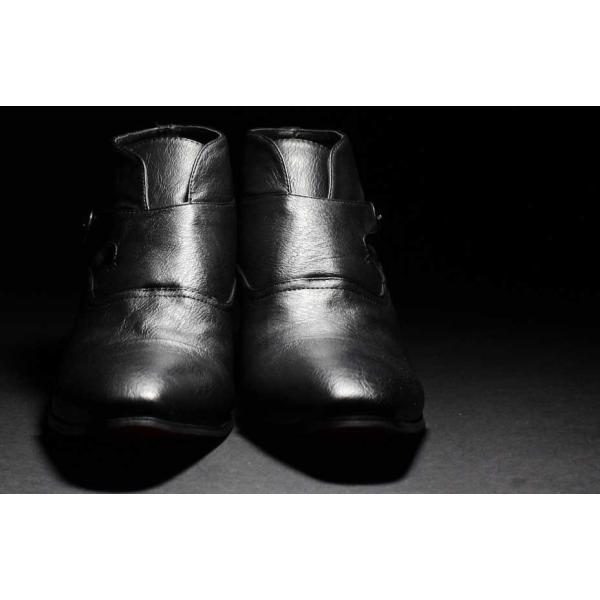 ショートブーツ PU革靴 メンズ シークレット シューズ モンクストラップ お兄 ホスト 2017 秋|sansuiya|04