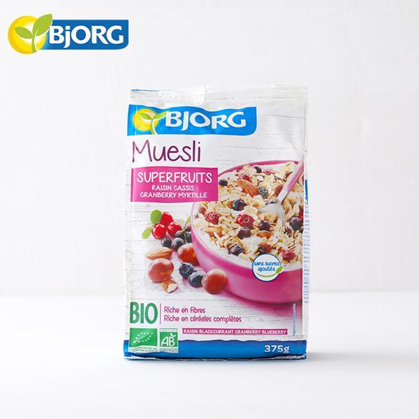 ビオルグ(Bjorg)ミューズリー ベリーミックス 375g 砂糖不使用 シリアル オーガニック JAS 朝食 おやつ 料理 オーツ麦 クランベリー ドライフルーツ 低GI