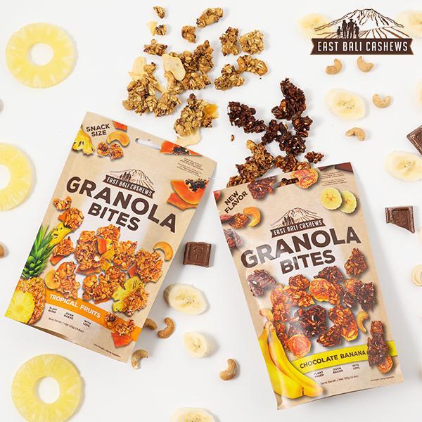 イースト バリ カシューズ グラノーラバイツ  トロピカルフルーツ チョコレート&バナナ スナック バリ島