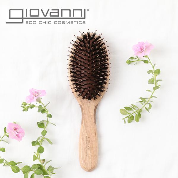 ジョヴァンニ(giovanni)EcoChicスリーキーブラシ│ヘアブラシくせ毛多毛ツヤさらさら天然猪毛エコシック