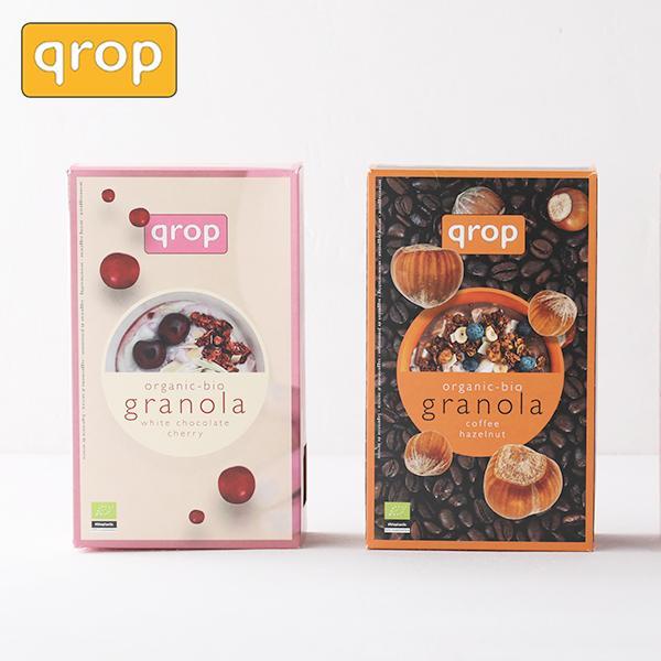 クロップ(qrop) グラノラ 400g | ホワイトチョコレート&チェリー コーヒー&ヘーゼルナッツ | グラノーラ オーガニック オーツ麦 JAS