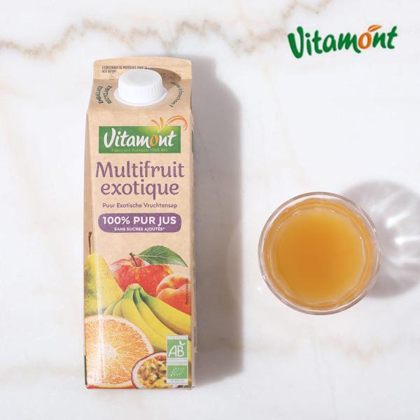 ヴィタモン オーガニックマルチフルーツジュース 1L │ 果汁100% プレストジュース リンゴ オレンジ バナナ 西洋なし アプリコット パッションフルーツ