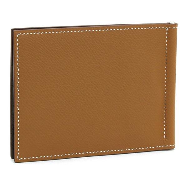 エルメス HERMES ポーカー コンパクトカラーブロック 二つ折りマネークリップ 財布 074715CK AG ゴールド チョコ ノワールD|santnore|02