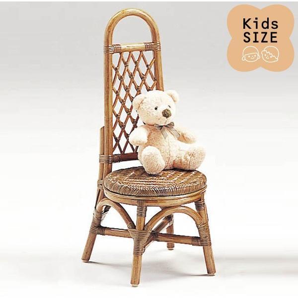 籐子供椅子 ラタンドールチェア ミニローザンヌチェア アンティークブラウン色フレーム アジアンテイスト