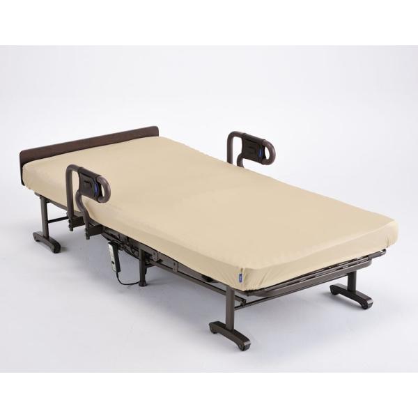 連休中も発送できます 電動リクライニング折りたたみベッド/収納ベット 洗えるイェロー色マットカバー付き シングル AX-BE635N