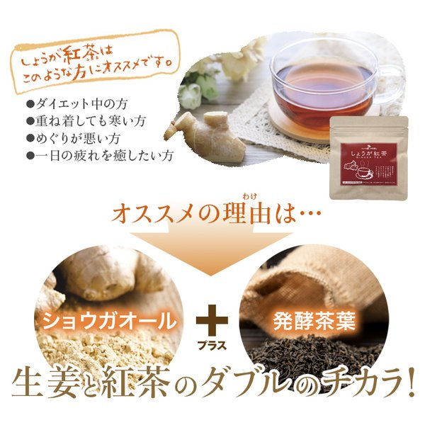 【初回限定】しょうが紅茶(12包)送料無料・セイロン紅茶・高知県産乾燥生姜100%・天然オリゴ糖・紅茶スティック・ポイント5倍|sanwa-y|02
