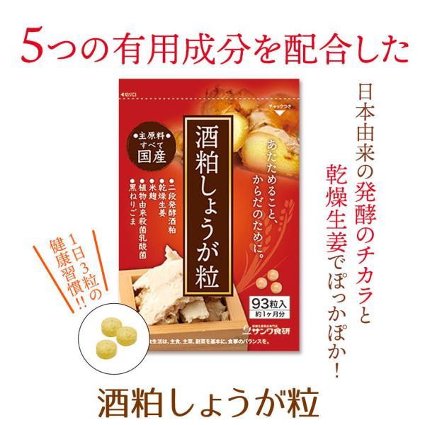 酒粕しょうが粒(93粒)30日分 国産 酒粕 酒かす 生姜 ダイエットサプリ sanwa-y