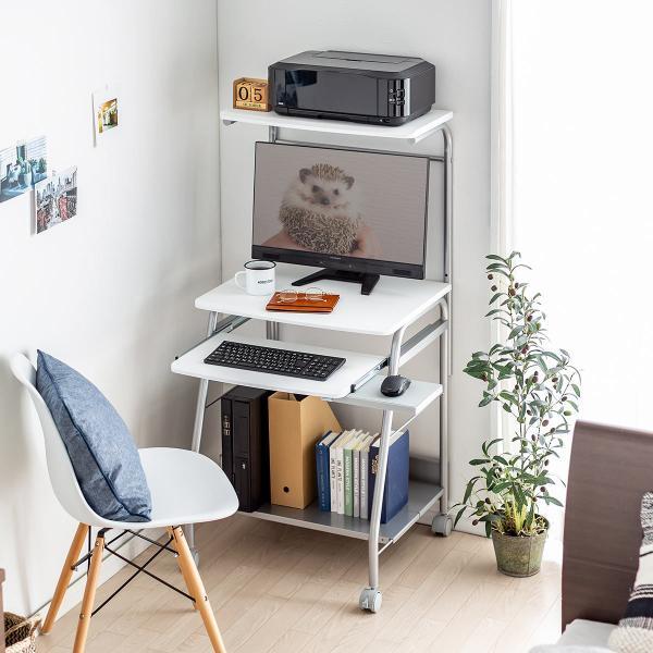 パソコンデスク 幅60cm パソコンラック ハイタイプ スタンダード コンパクト 省スペース タイプ PCデスク プリンタテーブル付き プリンタ収納|sanwadirect|17