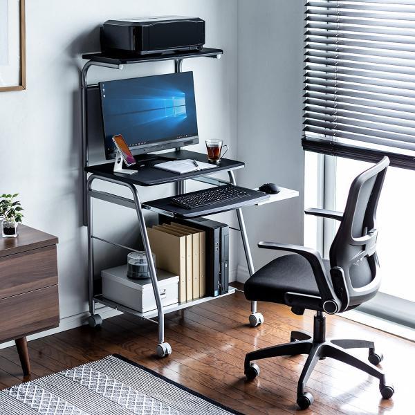 パソコンデスク 幅60cm パソコンラック ハイタイプ スタンダード コンパクト 省スペース タイプ PCデスク プリンタテーブル付き プリンタ収納|sanwadirect|18
