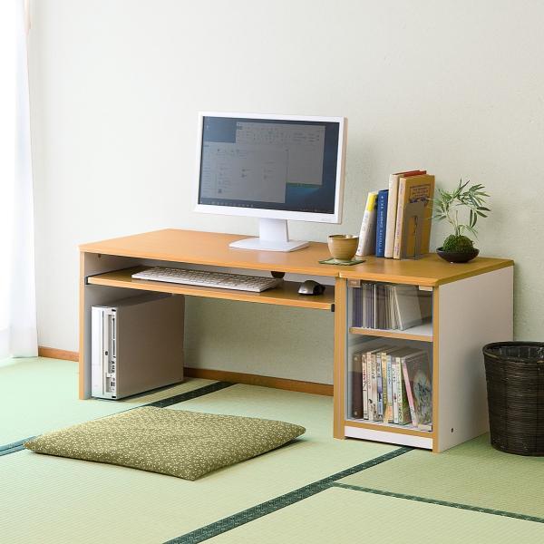 ローデスク 幅120cm パソコンデスク ロータイプ デスク 木製 コンパクト 収納 勉強 学習 机(即納) sanwadirect 14