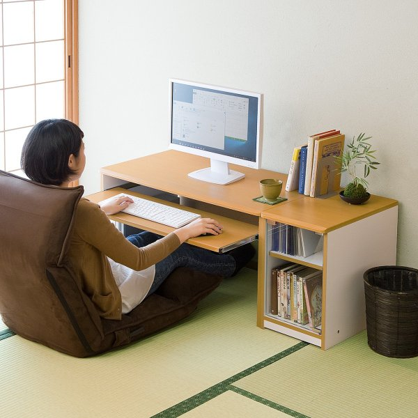 ローデスク 幅120cm パソコンデスク ロータイプ デスク 木製 コンパクト 収納 勉強 学習 机(即納) sanwadirect 08