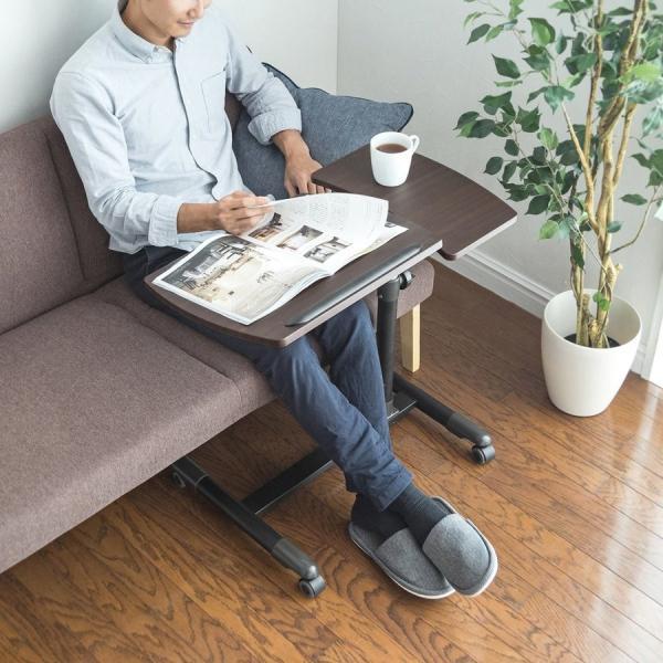 サイドテーブル パソコン ベッドサイドテーブル パソコンテーブル ソファ ノートパソコンスタンド コンパクト(即納)|sanwadirect|19