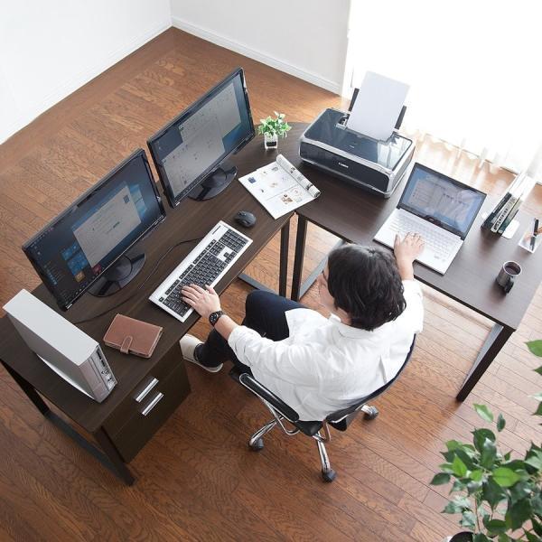 パソコンデスク L字 デスク PCデスク 木製 収納付き おしゃれ ワイド L字型(即納)|sanwadirect|08