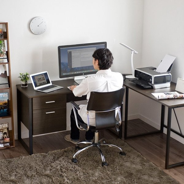 パソコンデスク L字 デスク PCデスク 木製 収納付き おしゃれ ワイド L字型(即納)|sanwadirect|09