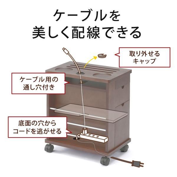 ワゴン サイドワゴン 木製 キャスター付 ソファー ベッド コンパクト|sanwadirect|05
