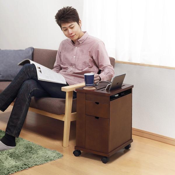 ワゴン サイドワゴン 木製 キャスター付 ソファー ベッド コンパクト|sanwadirect|10