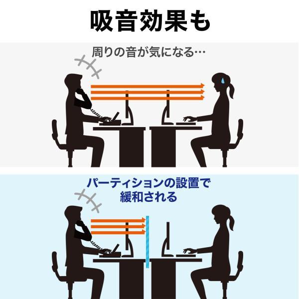 デスクトップパネル 仕切り 卓上 衝立 デスクパーテーション フェルト クランプ式 幅120cm オフィス(即納)|sanwadirect|07