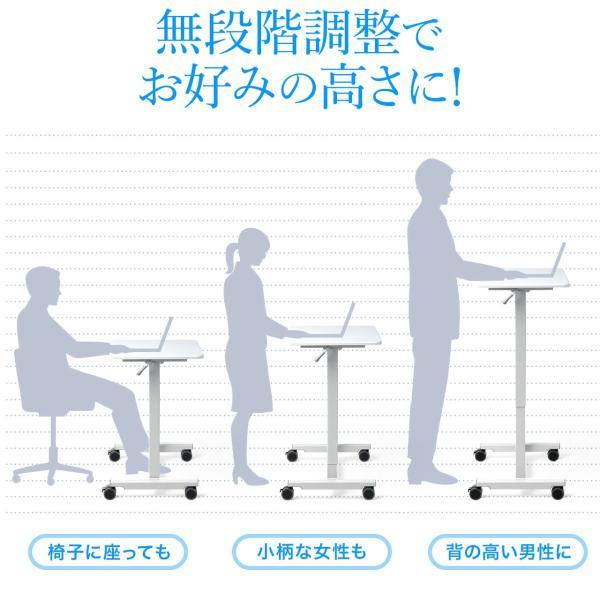 スタンディングデスク ガス圧 スタンディングテーブル 昇降式 幅60cm 奥行45cm  上下昇降 キャスター付き(即納)|sanwadirect|05