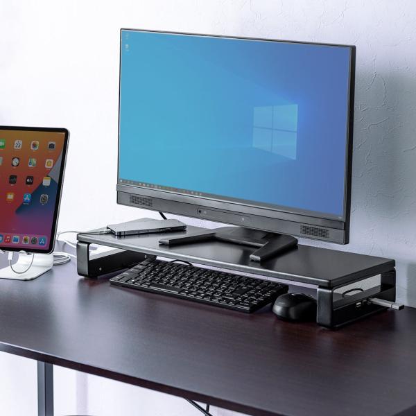 モニター台 USBポート 電源タップ 机上台 液晶 パソコン台 モニター 液晶モニター台 机上ラック(即納)|sanwadirect|19