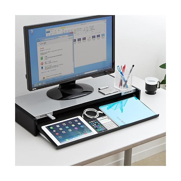 モニター台 液晶 机上ラック USBハブ iPhone iPad スマホ スタンド(即納)|sanwadirect|08