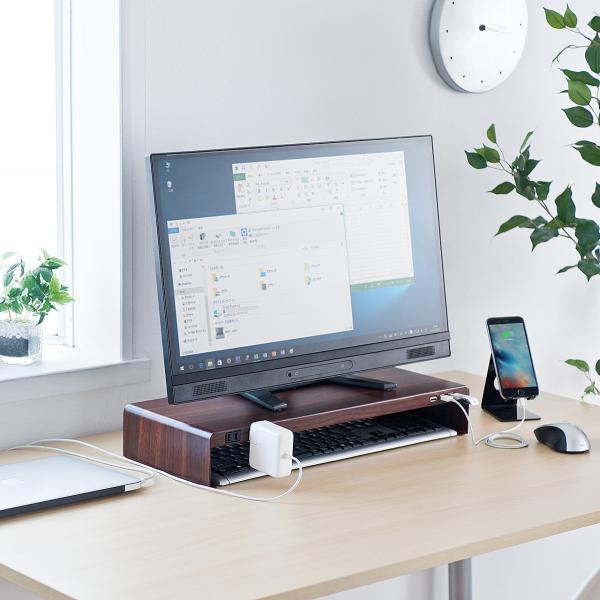 モニター台 液晶 USBハブ 木目 sanwadirect 12