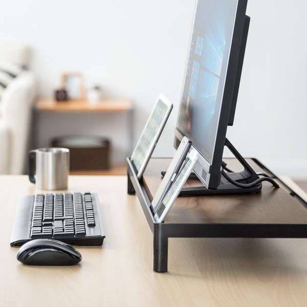 モニター台 机上台 木製 卓上 PC タブレット 液晶 天然木 幅75cm 奥行28cm|sanwadirect|07