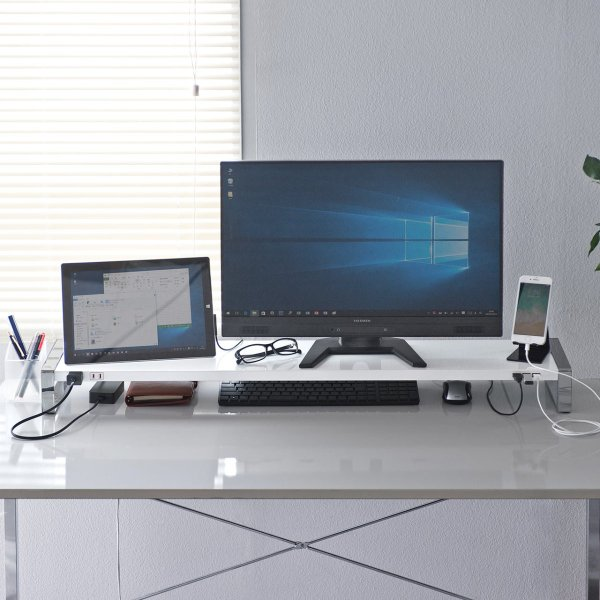 モニター台 机上台 USB コンセント搭載 幅100cm|sanwadirect|19