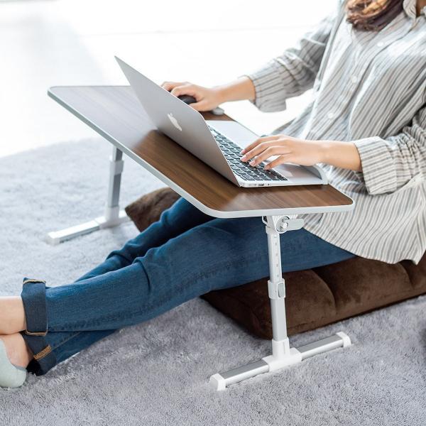 ローデスク 折りたたみ ローテーブル パソコンデスク ロータイプ コンパクト 高さ調整 角度調整 木目調(即納) sanwadirect 12