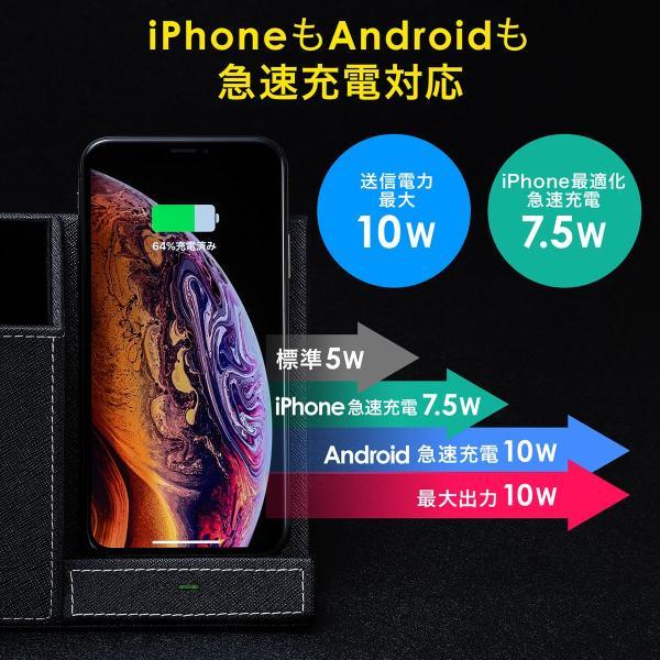 ワイヤレス充電 Qi 小物入れ ペン立て ペンスタンド レザー リモコンスタンド iPhone 急速充電 充電器(即納) sanwadirect 03