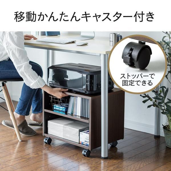 プリンタ台 マルチワゴン テレビ台 ケーブル配線 収納 2段(即納)|sanwadirect|08