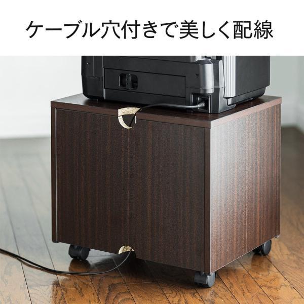 プリンタ台 マルチワゴン テレビ台 ケーブル配線 収納 2段(即納)|sanwadirect|09