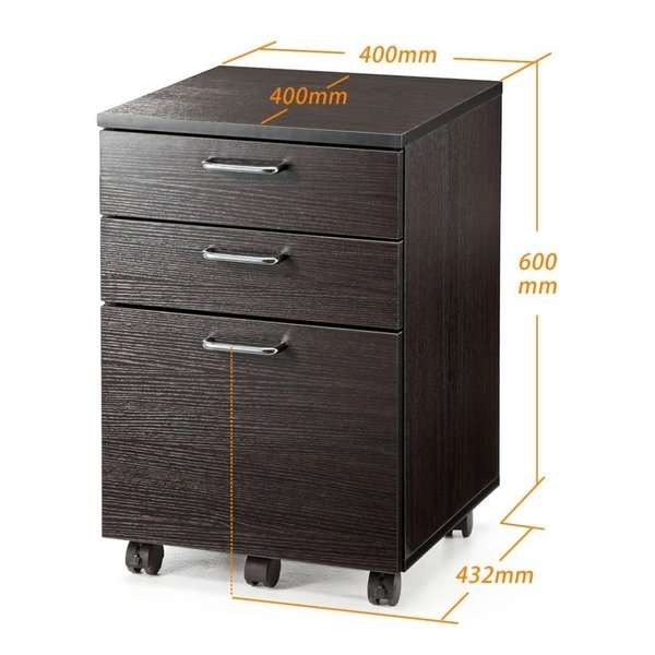 デスクワゴン 木製 キャスター付き 3段 チェスト キャビネット 引き出し 収納(即納)|sanwadirect|10