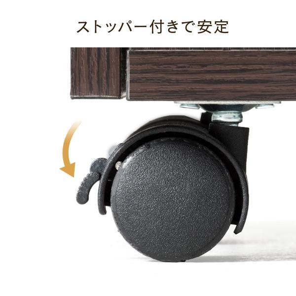 デスクワゴン キャビネット ワゴン 木製 チェスト 引き出し カバン置き キャスター付き(即納)|sanwadirect|11