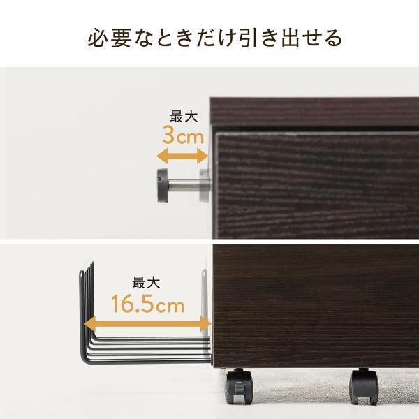 デスクワゴン キャビネット ワゴン 木製 チェスト 引き出し カバン置き キャスター付き(即納)|sanwadirect|08